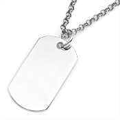Dog Tag Pendant Sterling Silver